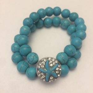 Turquoise starfish stretch bead snap bracelet